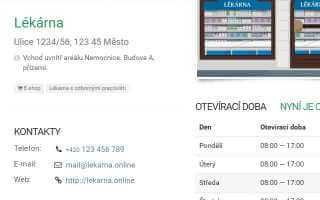 Screenshot profilu lékárny